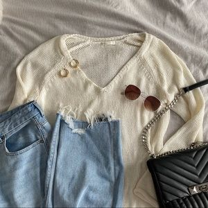 H&M Basics White Knit Sweater